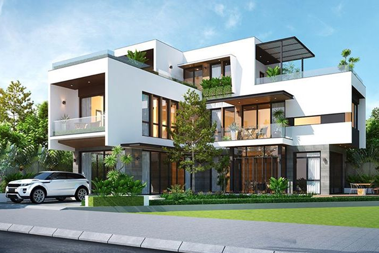 Biệt thự chữ L 3 tầng đẹp với diện tích 130m2 ở Quảng Ninh