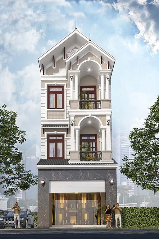 Nhà phố 3 tầng mặt tiền 5m đẹp mái thái hiện đại